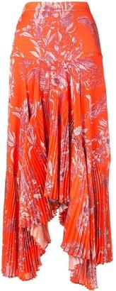 Alexis Tarou floral asymmetric pleated skirt