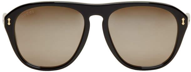 Gucci Black Opulent Luxury Aviator Sunglasses