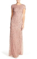 Adrianna Papell Petite Women's Short Sleeve Sequin Mesh Gown