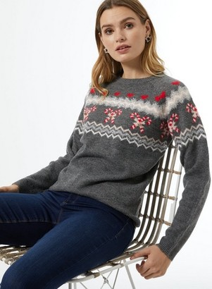 Dorothy Perkins Womens Grey Candy Cane Fairisle Christmas Jumper, Grey
