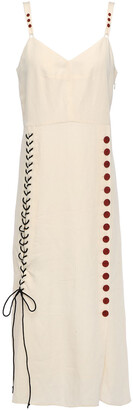 By Malene Birger Lace-up Button-detailed Slub Woven Midi Dress