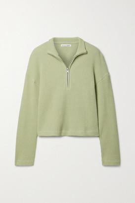 Reformation Yale Waffle-knit Organic Cotton Sweatshirt - Green