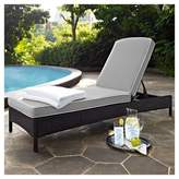Crosley Palm Harbor Outdoor Wicker Chaise Lounge In Brown with Gray Cushions