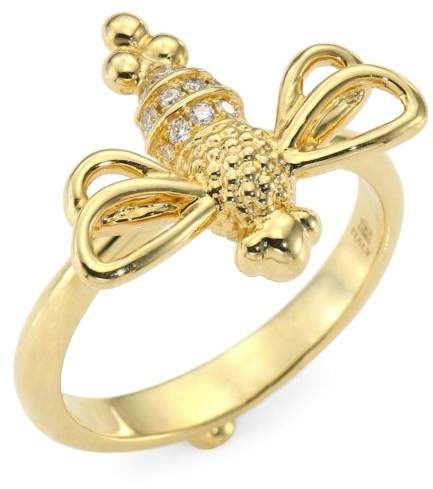 Temple St. Clair Garden Of Earthly Delights Diamond & 18K Gold Resting Bee Ring