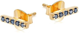 Missoma Gold Blue Pave Bar Studs