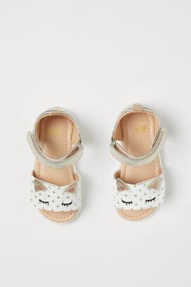H&M Appliqued Sandals - White