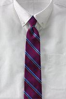 Lands' End Men's Silk Cotton Textured Stripe Necktie-Dark Forest