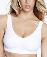 Dominique White Wireless Soft Support Elodie Sports Bra - Plus Too
