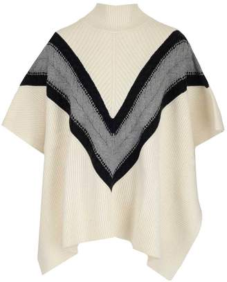See by Chloe Cable Knit Detail Turtleneck Poncho