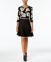 Jessica Howard Floral Fit & Flare Sweater Dress