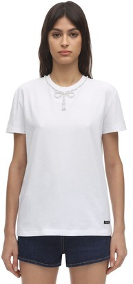 Miu Miu Jersey T-shirt W/faux Pearls Bow Collar