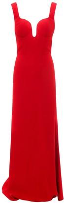Alexander McQueen Plunging Neckline Maxi Dress