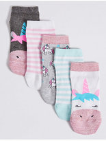 Marks and Spencer 5 Pairs of FreshfeetTM Unicorn Trainer Liner Socks (3-14 Years)