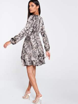 AX Paris Snake Print Tiered Dress - Grey