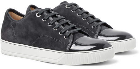 e5c7087405c1 Lanvin Suede And Patent Leather Sneakers