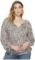 Lucky Brand Plus Size Banded Bottom Peasant Top Women's Clothing