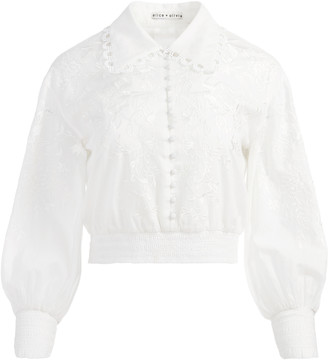 Alice + Olivia Onella Embroidered Button Front Blouse