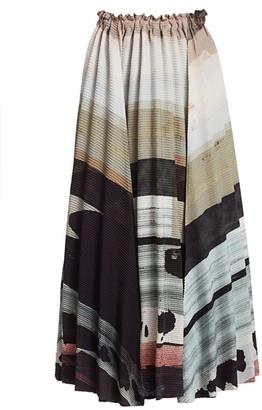 Issey Miyake Panorama Printed Midi Skirt