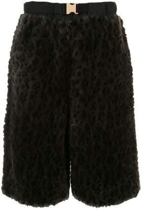 Sacai leopard print shearling shorts