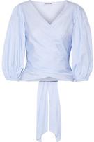 Elizabeth and James Farrah Striped Cotton-poplin Wrap Top