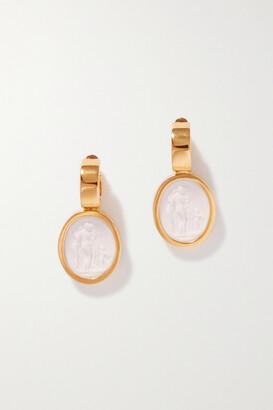 Simone Rocha Cameo Gold-tone Porcelain Hoop Earrings - one size