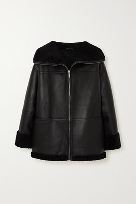 Totême Oversized Leather And Shearling Coat - Black