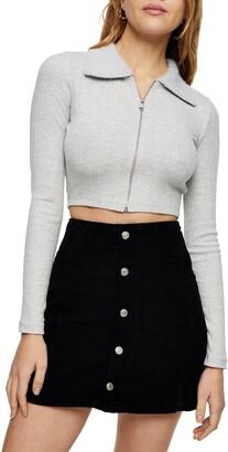 Topshop Faux Fur Collar Cropped Cardigan