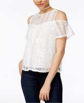 BCX Juniors' Lace Illusion Cold-Shoulder Top