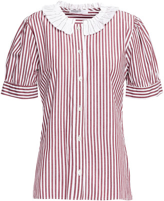 Stateside Ruffle-trimmed Striped Cotton-poplin Shirt