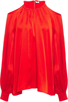 Rosetta Getty Cold-shoulder Gathered Satin-crepe Blouse