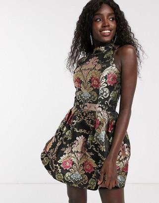 Chi Chi London jacquard skater mini dress in multi print-Black