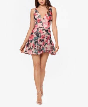 Blondie Nites Juniors' Floral Chiffon Fit & Flare Dress