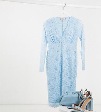 Blume Maternity long sleeve lace baby shower midi dress in light blue
