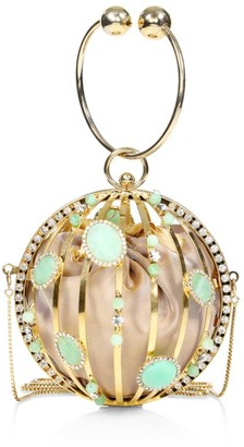 Rosantica Laetitia Crystal-Embellished Round Clutch