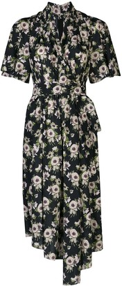Adam Lippes Floral Asymmetric Mid-length Dress