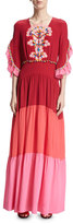 Peter Pilotto Bouquet-Embroidered Colorblock Maxi Dress, Pink
