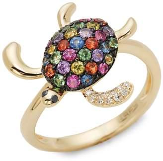 Effy 14K Yellow Gold, Sapphire & Diamond Turtle Ring
