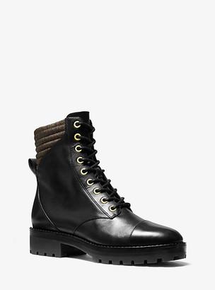 MICHAEL Michael Kors MK Bastian Logo-Trim Leather Combat Boot - Black - Michael Kors