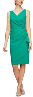 Alex Evenings Petite Embellished Faux-Wrap Dress