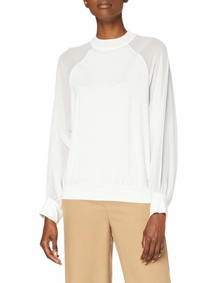 French Connection Women's Woven Mix Long Sleeve Top