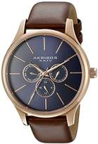 Akribos XXIV Men's AK870RGBU Multifunction Quartz Movement Watch with Blue Dial and Genuine Brown Leather Strap