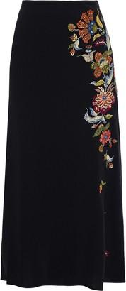 Cinq à Sept Marta Embroidered Crepe Midi Skirt