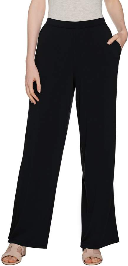 Halston H By H by Petite Jet Set Jersey Wide Leg Pull-on Pants