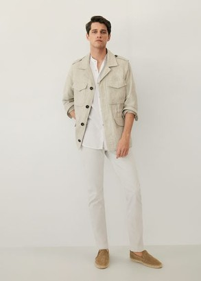 MANGO MAN - Pocket linen-blend jacket beige - S - Men