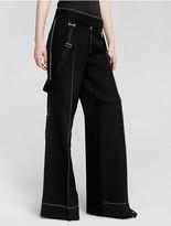 Calvin Klein Collection Technical Scuba + Silk Drape Wide Leg Trouser
