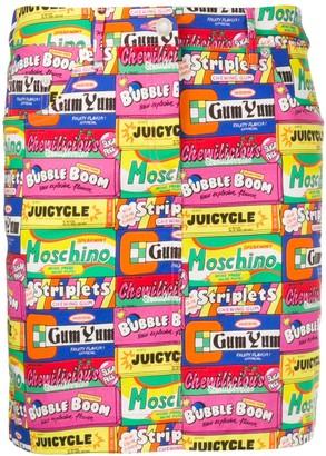 Moschino Retro Sweet-Print Skirt