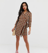 Glamorous Petite wrap front shirt dress in bright check