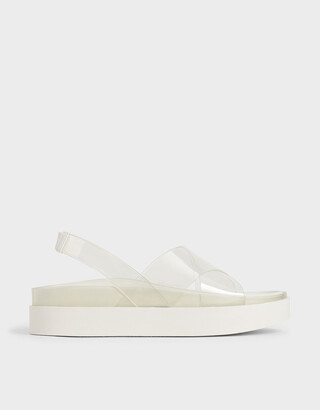 Charles & Keith See-Through Effect Flatform Sandals