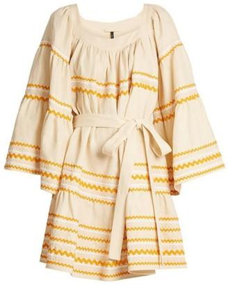 Short Linen Peasant Dress