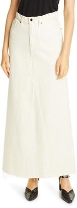 KHAITE Magdalena Reconstructed Denim Maxi Skirt